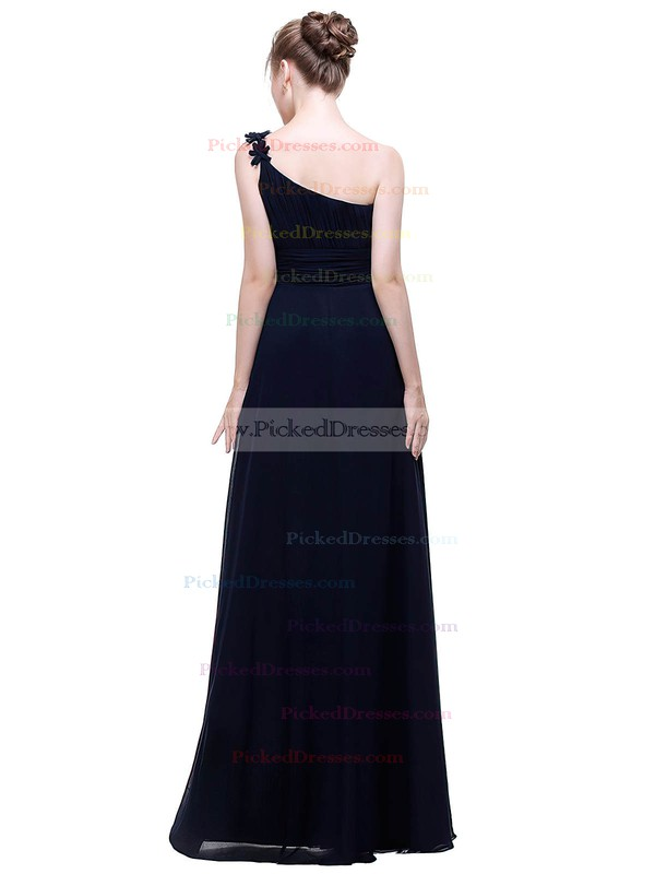A-line One Shoulder Floor-length Chiffon with Flower(s) Bridesmaid Dresses #PDS01013445