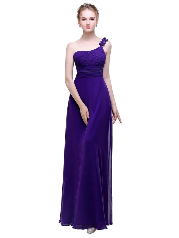 A-line One Shoulder Ankle-length Chiffon with Flower(s) Bridesmaid Dresses #PDS01013446