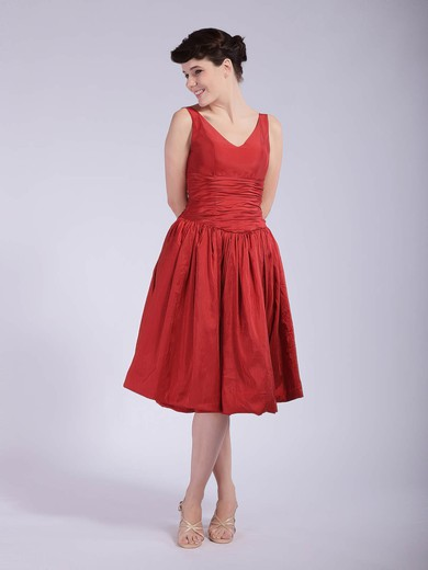 Taffeta A-line V-neck Tea-length Pleats Bridesmaid Dresses #PDS01012037