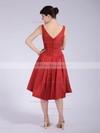 Taffeta A-line V-neck Tea-length Pleats Bridesmaid Dresses #PDS01012037