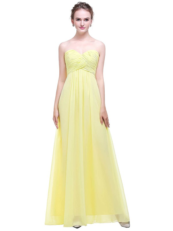 Empire Sweetheart Floor-length Chiffon with Ruffles Bridesmaid Dresses #PDS01013449