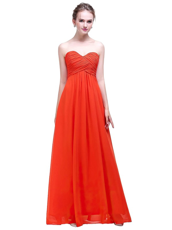 Empire Sweetheart Floor-length Chiffon with Ruffles Bridesmaid Dresses #PDS01013450