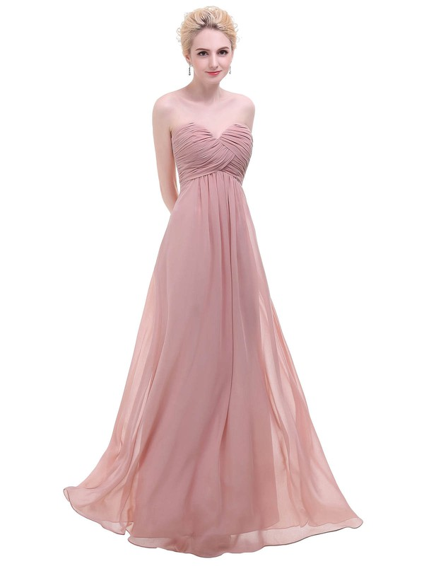 Empire Sweetheart Floor-length Chiffon with Ruffles Bridesmaid Dresses #PDS01013451