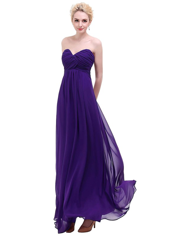 Empire Sweetheart Floor-length Chiffon with Ruffles Bridesmaid Dresses #PDS01013453