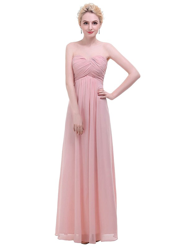 Empire Sweetheart Floor-length Chiffon with Ruffles Bridesmaid Dresses #PDS01013455