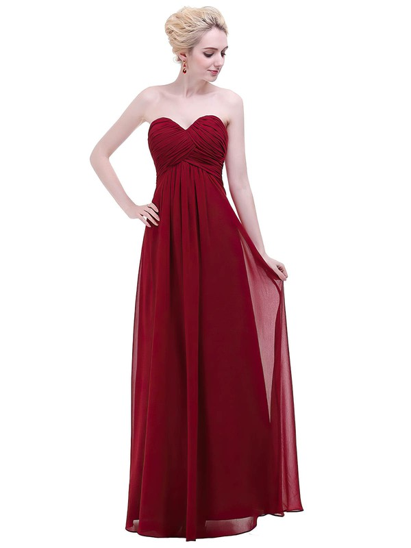 Empire Sweetheart Floor-length Chiffon with Ruffles Bridesmaid Dresses #PDS01013456