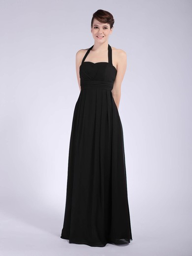 Chiffon Sheath/Column Halter Floor-length Draping Bridesmaid Dresses #PDS01012041