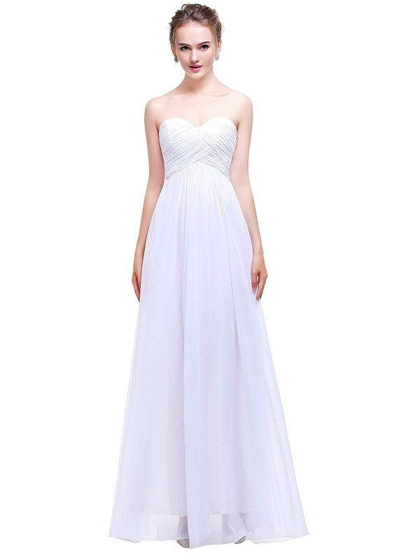 Empire Sweetheart Floor-length Chiffon with Ruffles Bridesmaid Dresses #PDS01013458