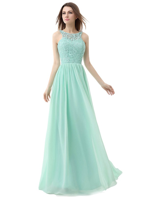 A-line Scoop Neck Floor-length Chiffon with Lace Bridesmaid Dresses #PDS01013459
