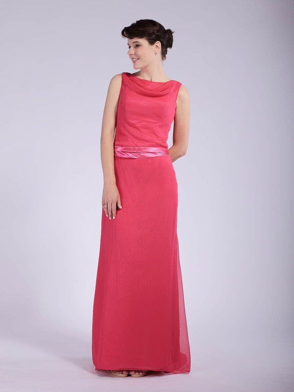 Chiffon Sheath/Column Cowl Floor-length Sashes/Ribbons Bridesmaid Dresses #PDS01012044