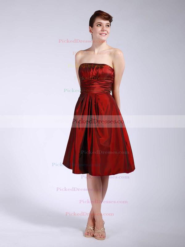 Taffeta A-line Strapless Knee-length Pleats Bridesmaid Dresses #PDS01012045