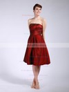 Taffeta A-line Strapless Knee-length Pleats Bridesmaid Dresses #PDS01012045