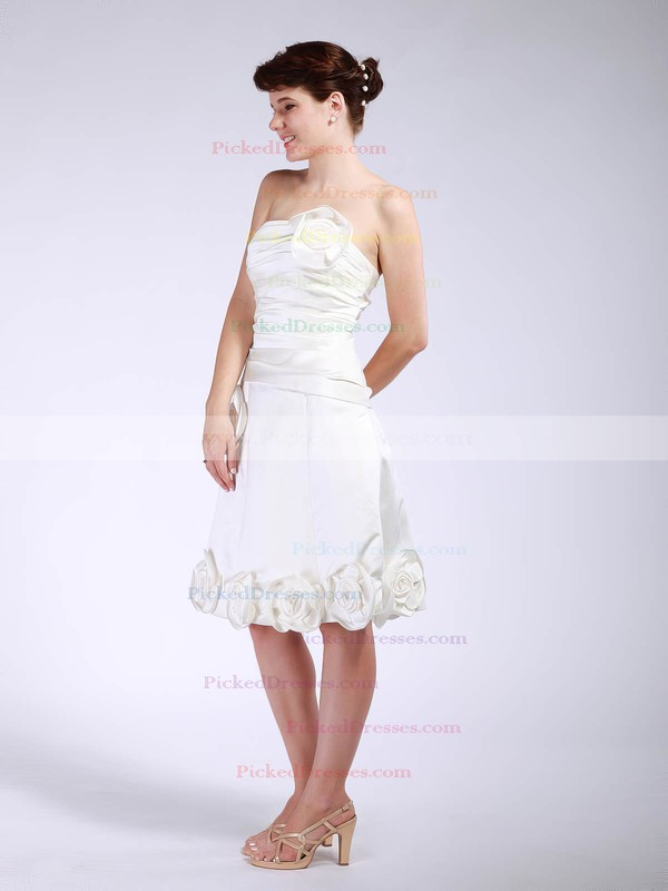 Satin A-line Strapless Tea-length Flower(s) Bridesmaid Dresses #PDS01012048