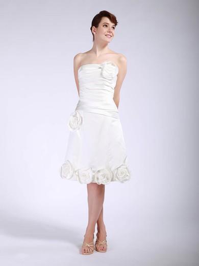 Satin A-line Strapless Tea-length Flower(s) Bridesmaid Dresses #PDS01012048