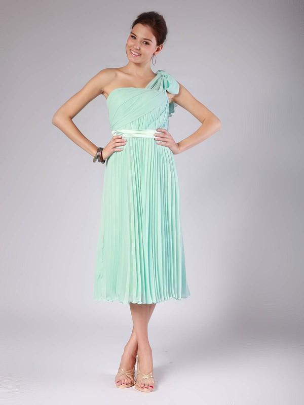 Chiffon A-line One Shoulder Tea-length Pleats Bridesmaid Dresses #PDS02013602