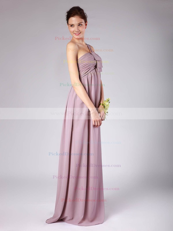 Chiffon A-line Strapless Floor-length Pleats Bridesmaid Dresses #PDS02013604