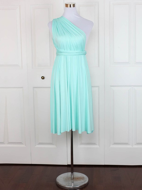 A-line One Shoulder Short/Mini Jersey with Ruffles Bridesmaid Dresses #PDS01013128