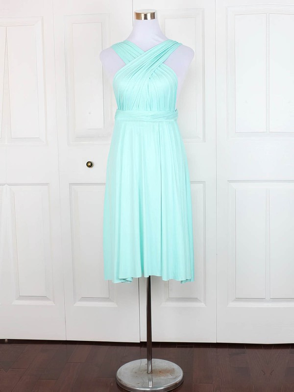 A-line V-neck Short/Mini Jersey with Ruffles Bridesmaid Dresses #PDS01013129