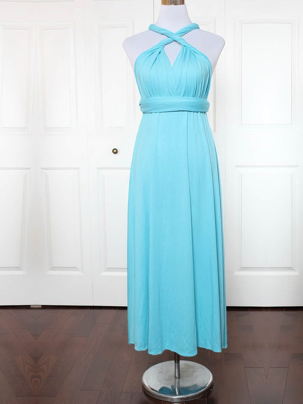 A-line V-neck Ankle-length Jersey with Ruffles Bridesmaid Dresses #PDS01013130