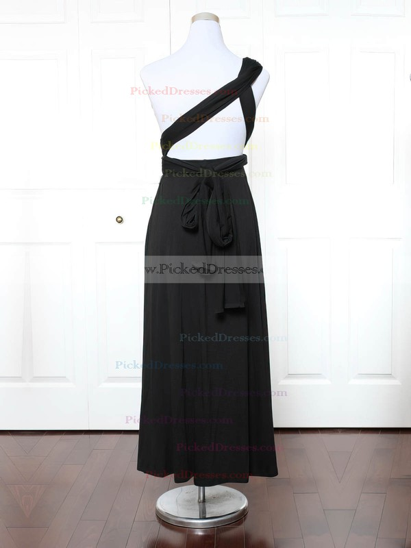 A-line One Shoulder Ankle-length Jersey with Ruffles Bridesmaid Dresses #PDS01013131