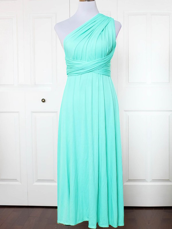 A-line One Shoulder Ankle-length Jersey with Ruffles Bridesmaid Dresses #PDS01013132