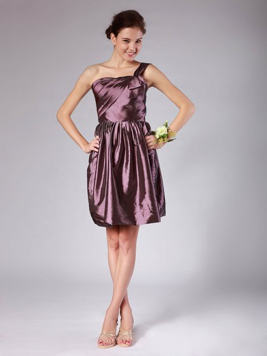 Taffeta A-line One Shoulder Short/Mini Pleats Bridesmaid Dresses #PDS02013605