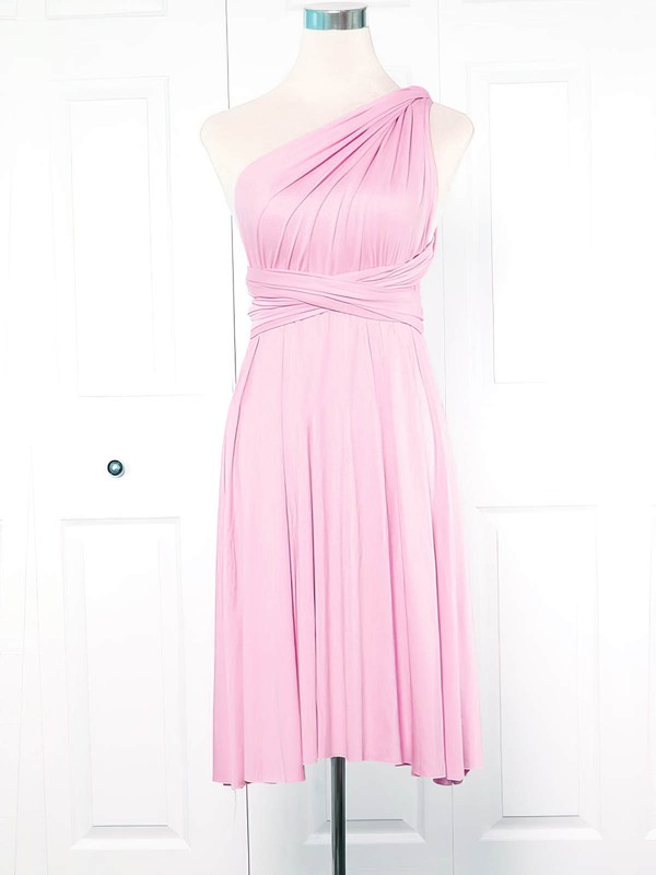 Empire One Shoulder Short/Mini Jersey with Ruffles Bridesmaid Dresses #PDS01013133