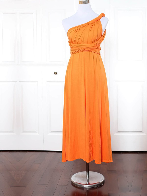 Empire One Shoulder Ankle-length Jersey with Ruffles Bridesmaid Dresses #PDS01013134