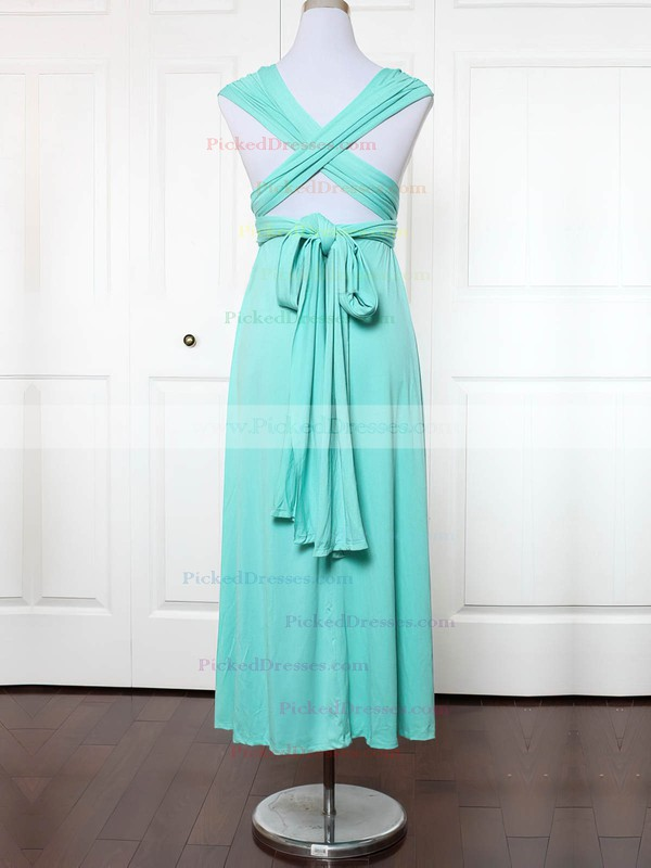Empire V-neck Ankle-length Jersey with Ruffles Bridesmaid Dresses #PDS01013135