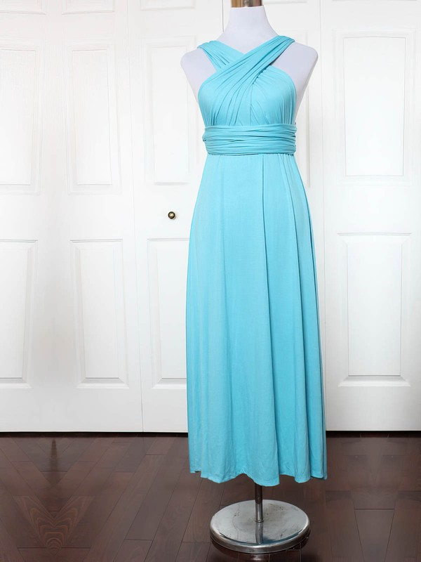 A-line V-neck Ankle-length Jersey with Ruffles Bridesmaid Dresses #PDS01013136