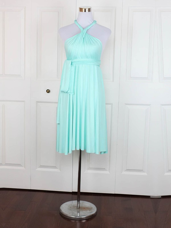 Empire V-neck Short/Mini Jersey with Ruffles Bridesmaid Dresses #PDS01013138