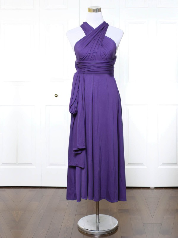 A-line V-neck Ankle-length Jersey with Ruffles Bridesmaid Dresses #PDS01013140