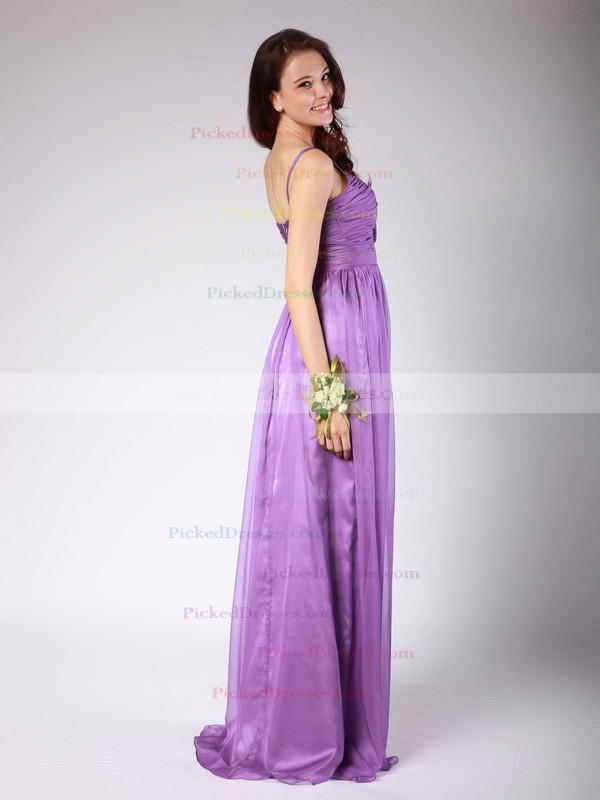 Chiffon Sheath/Column Spaghetti Straps Floor-length Pleats Bridesmaid Dresses #PDS02013606
