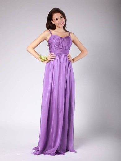 Chiffon Sheath/Column Spaghetti Straps Floor-length Pleats Bridesmaid Dresses #PDS02013606