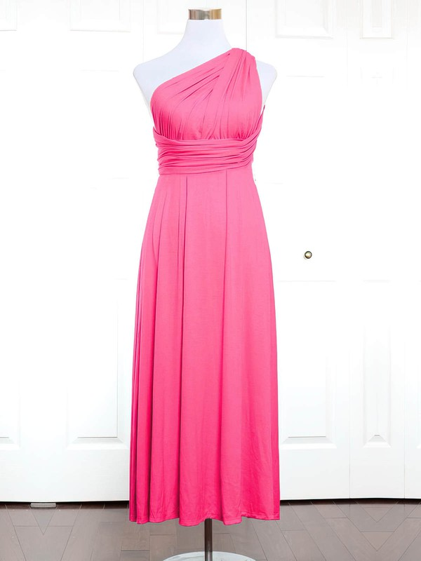 A-line One Shoulder Ankle-length Jersey with Ruffles Bridesmaid Dresses #PDS01013144