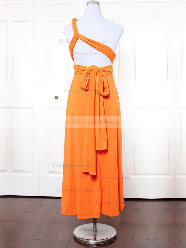 A-line One Shoulder Ankle-length Jersey with Ruffles Bridesmaid Dresses #PDS01013145