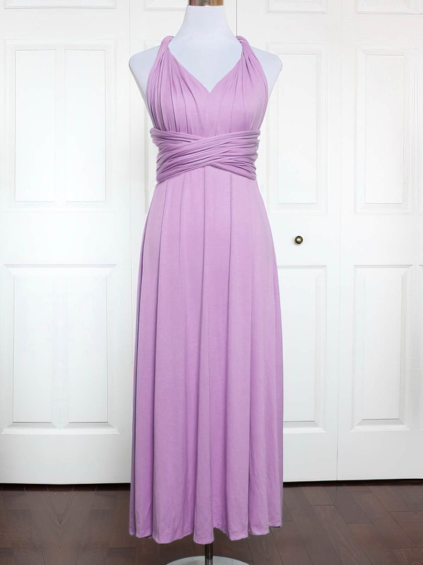 A-line V-neck Ankle-length Jersey with Ruffles Bridesmaid Dresses #PDS01013146