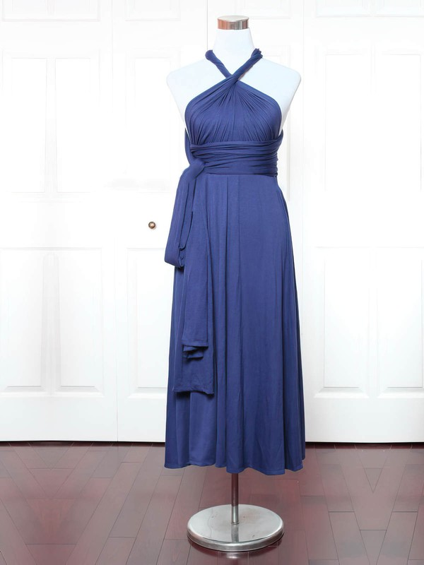 A-line V-neck Ankle-length Jersey with Ruffles Bridesmaid Dresses #PDS01013147