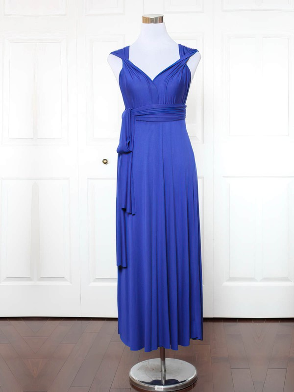 A-line V-neck Ankle-length Jersey with Ruffles Bridesmaid Dresses #PDS01013148