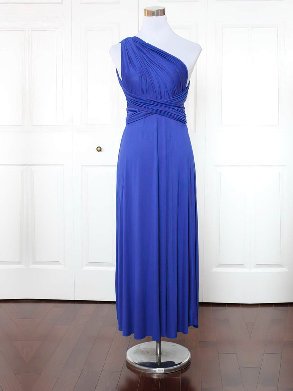 A-line One Shoulder Ankle-length Jersey with Ruffles Bridesmaid Dresses #PDS01013149