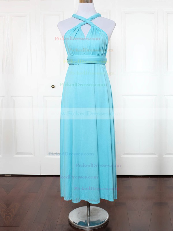 A-line V-neck Ankle-length Jersey with Ruffles Bridesmaid Dresses #PDS01013150
