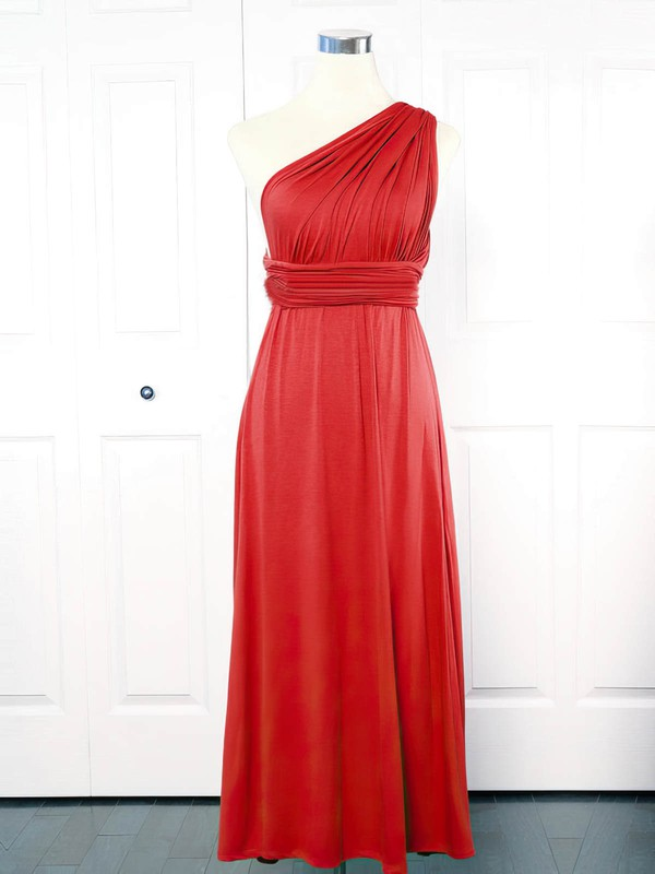 Empire One Shoulder Ankle-length Jersey with Ruffles Bridesmaid Dresses #PDS01013151