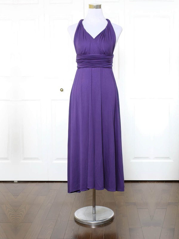A-line V-neck Ankle-length Jersey with Ruffles Bridesmaid Dresses #PDS01013152