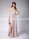 Chiffon A-line Strapless Floor-length Pleats Bridesmaid Dresses #PDS02013608