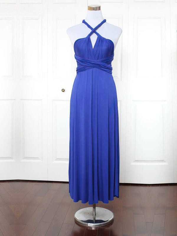 A-line V-neck Ankle-length Jersey with Ruffles Bridesmaid Dresses #PDS01013153