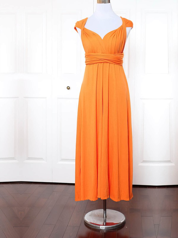 Empire V-neck Ankle-length Jersey with Ruffles Bridesmaid Dresses #PDS01013154