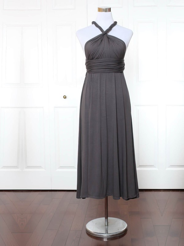 A-line V-neck Ankle-length Jersey with Ruffles Bridesmaid Dresses #PDS01013155