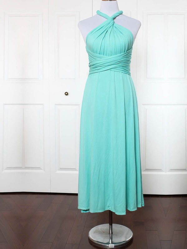 A-line V-neck Ankle-length Jersey with Ruffles Bridesmaid Dresses #PDS01013156