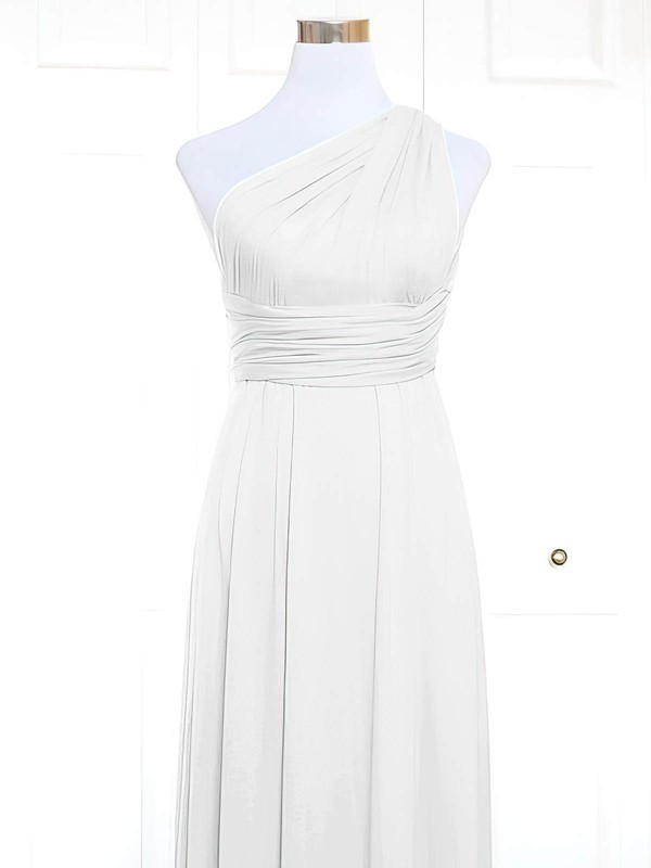 A-line One Shoulder Short/Mini Jersey with Ruffles Bridesmaid Dresses #PDS01013157