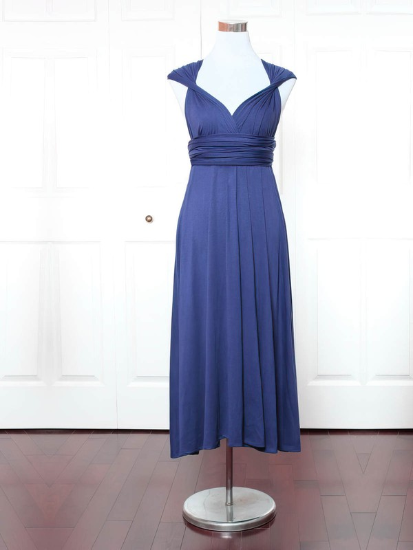 A-line V-neck Ankle-length Jersey with Ruffles Bridesmaid Dresses #PDS01013158